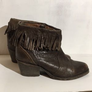 All Saints fringe harness ankle boots